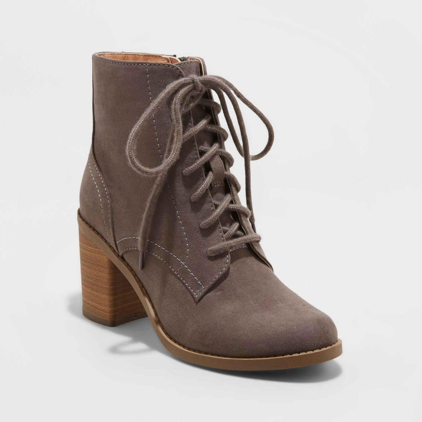 gray laceup fashion booties with wooden heel