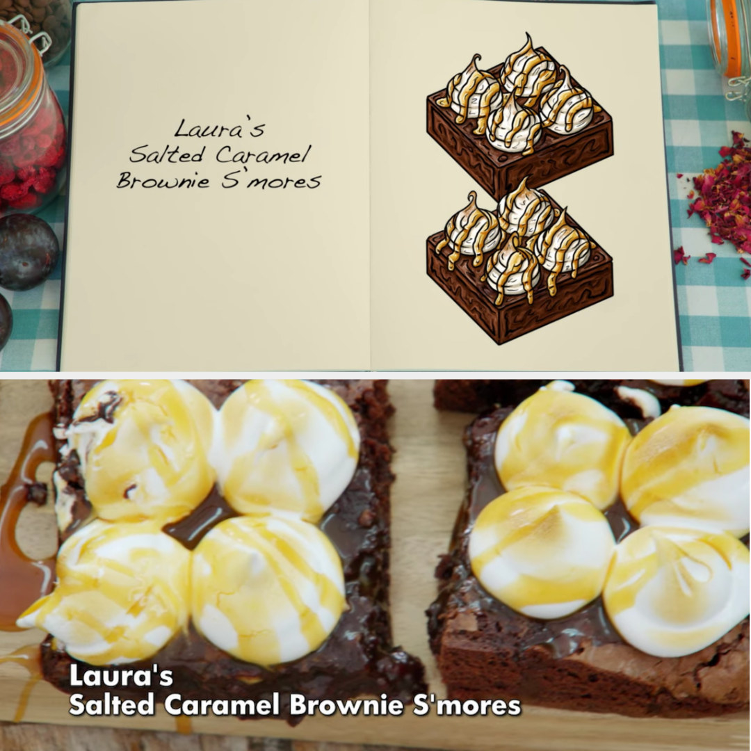 Laura's brownie side-by-side with its drawing