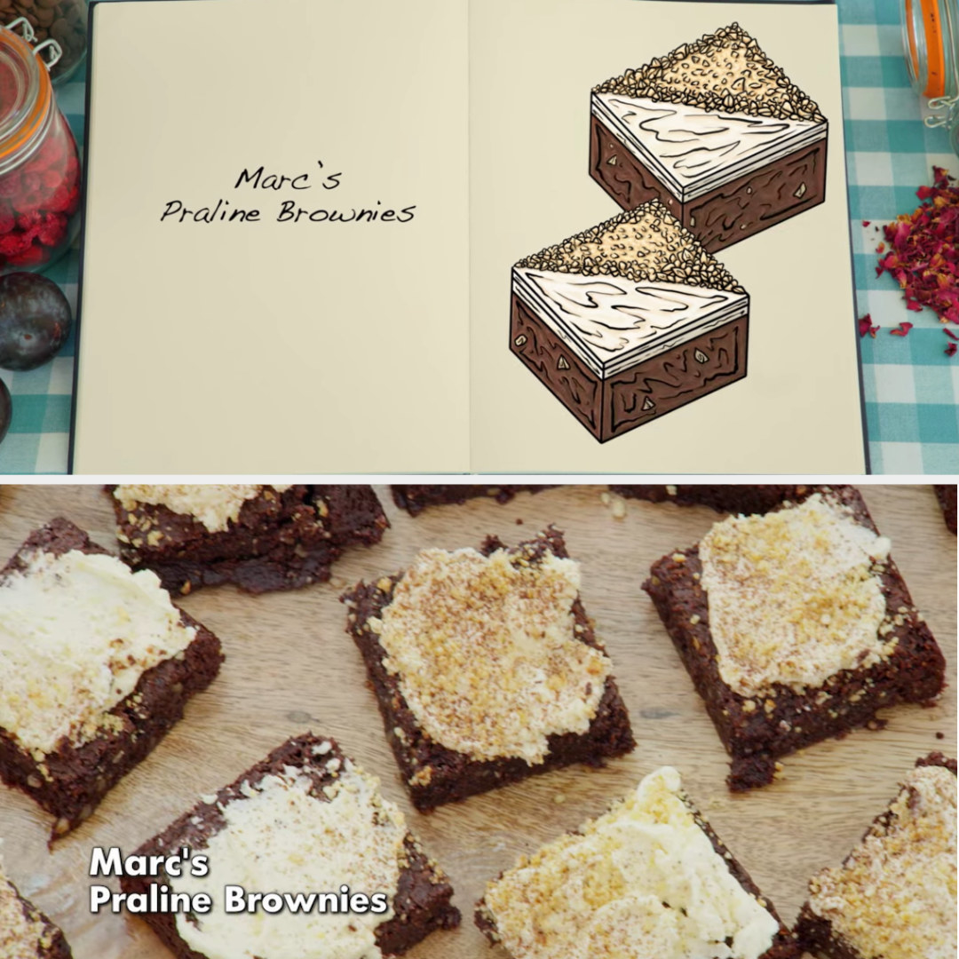 Marc's brownie side-by-side with its drawing
