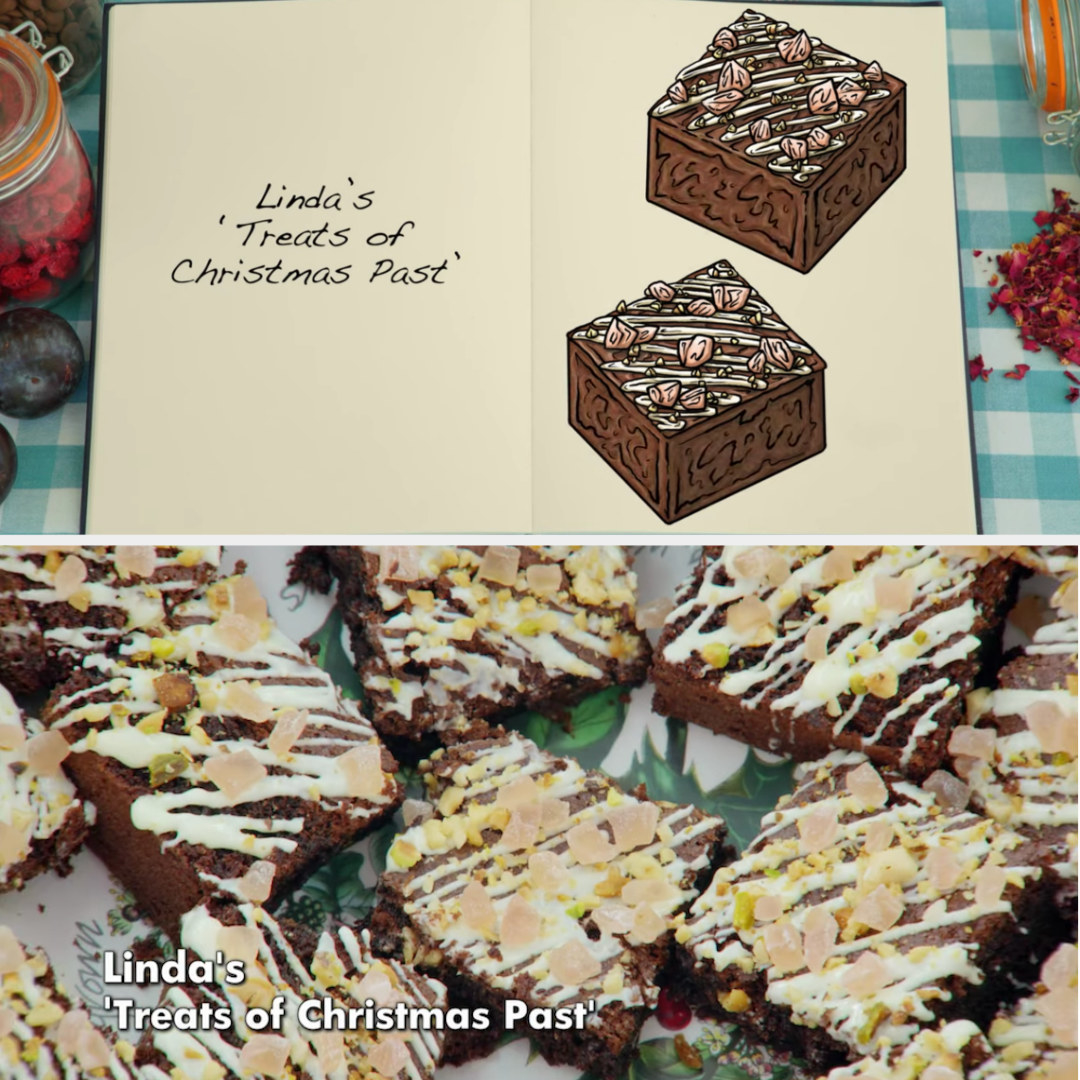 Linda's brownie side-by-side with its drawing