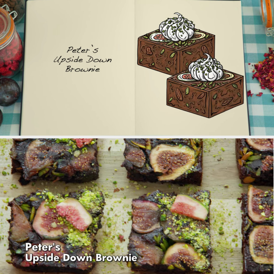 Peter's brownie side-by-side with its drawing