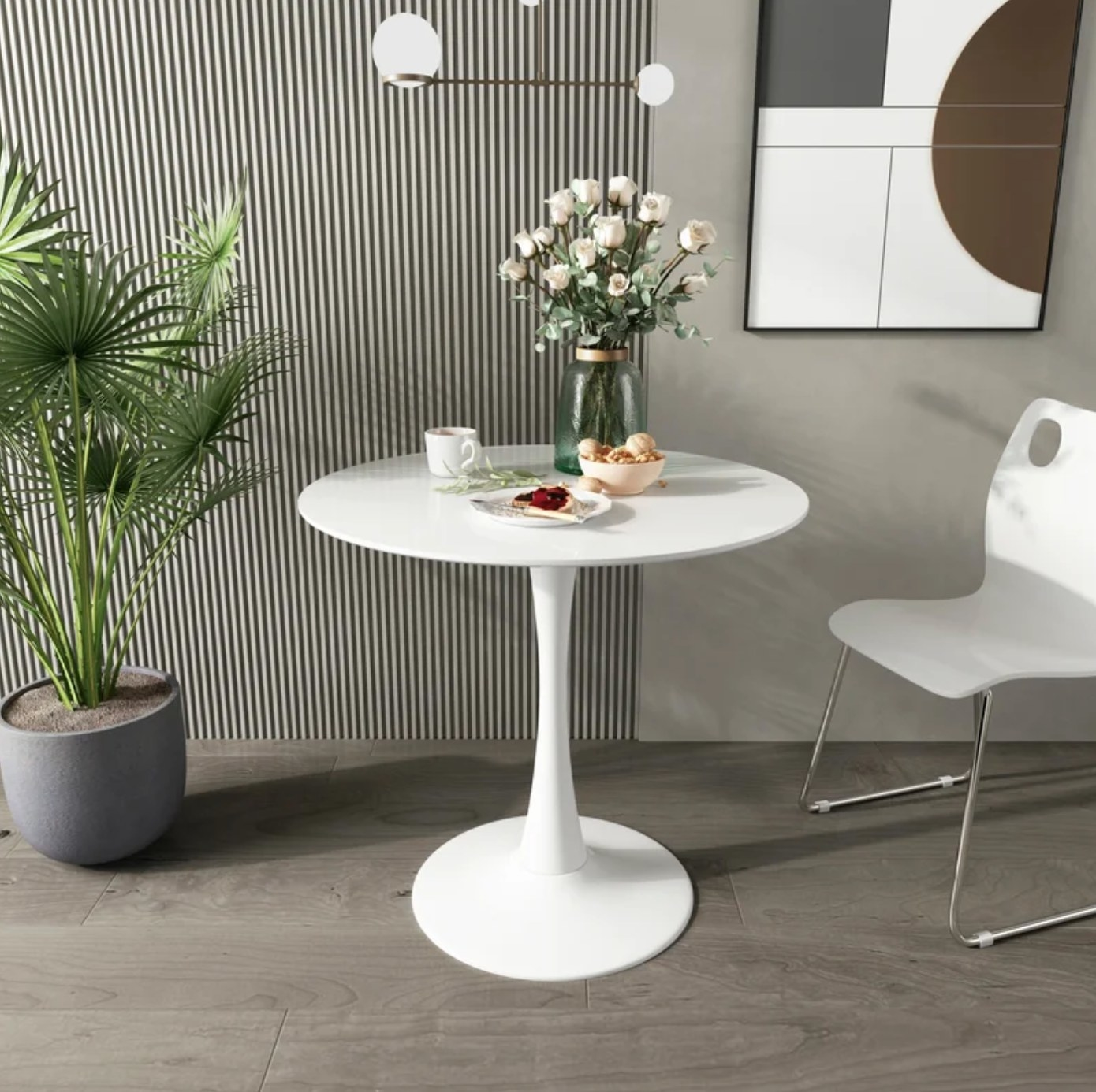 The round dining table in white