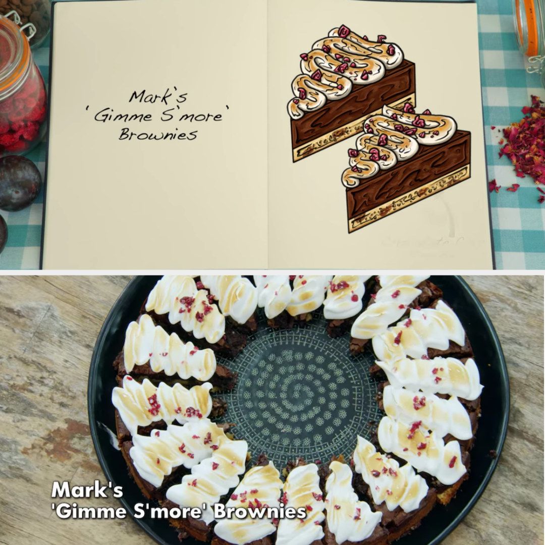 Mark's brownie side-by-side with its drawing