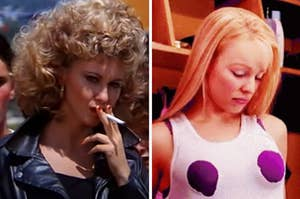 Sandy smoking a cigarette in Grease and Regina looking down at her cut out shirt in Mean Girls