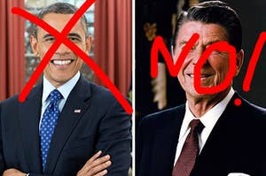 obama and reagan with a big no sign over them
