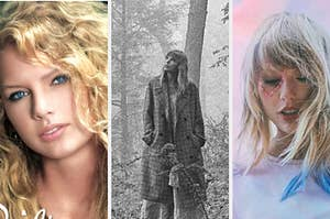"""泰勒·斯威夫特的第一张专辑封面,泰勒·斯威夫特的""""民间传说""""专辑封面,和泰勒·斯威夫特的""""情人""""专辑封面"""