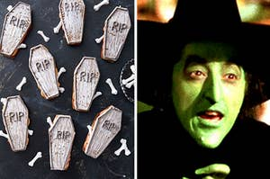 Coffin cookies and the wicked witch from The Wizard of Oz