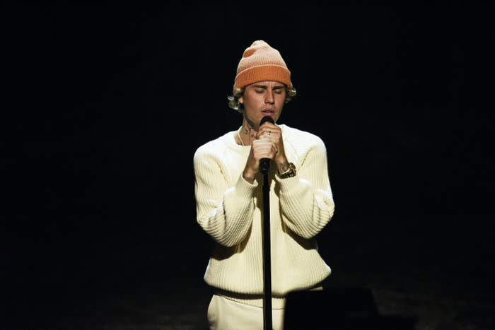 Musical guest Justin Bieber performs on Saturday, October 17, 2020.