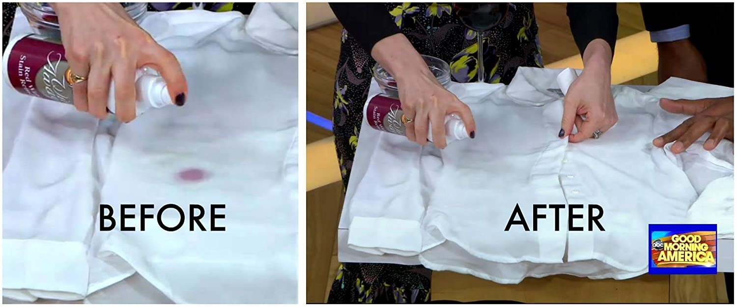 A before and after shot of a wine-stained white shirt with the stain removed from the spray