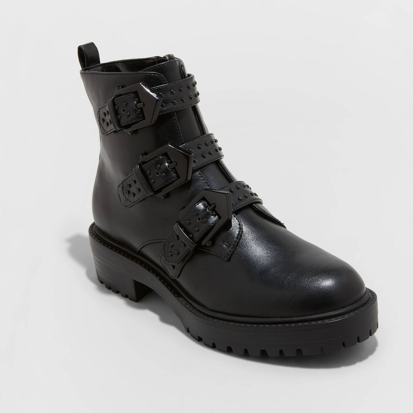 black leather boots with buckle straps