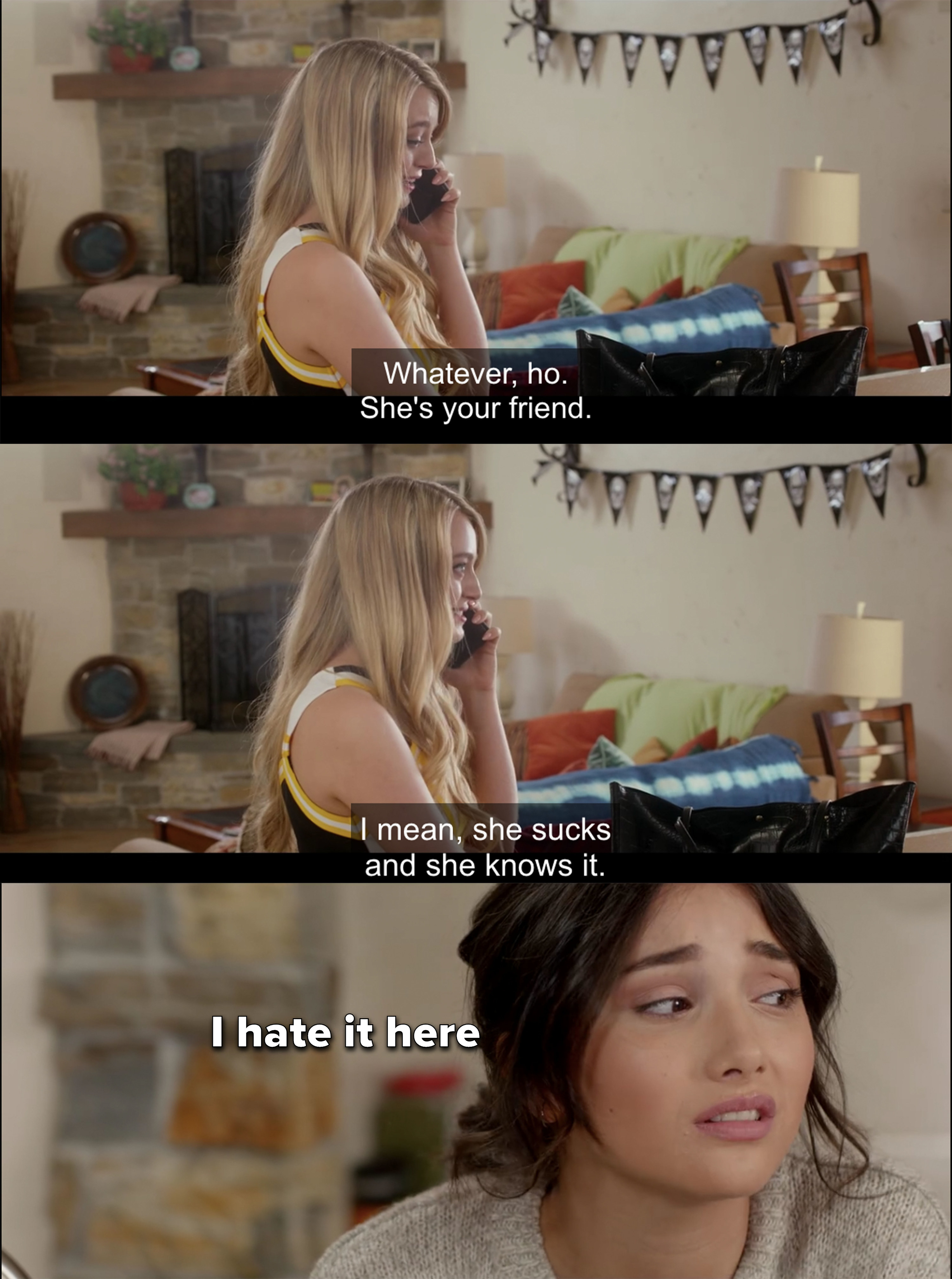 """Kristina talks shit on the phone to her friend and Chelsea looks at her with contempt, captioned """"I hate it here"""""""