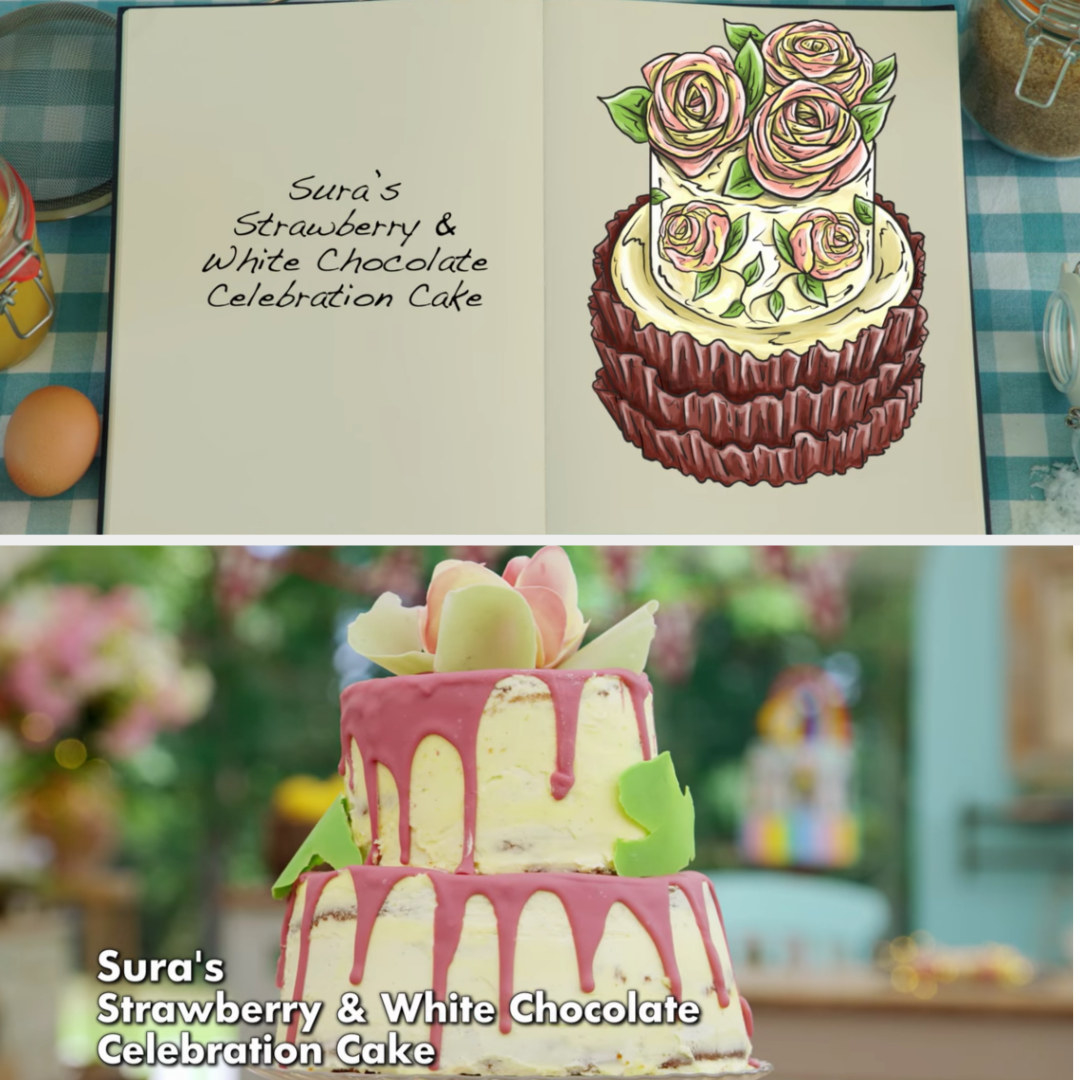 Sura's cake side-by-side with its drawing