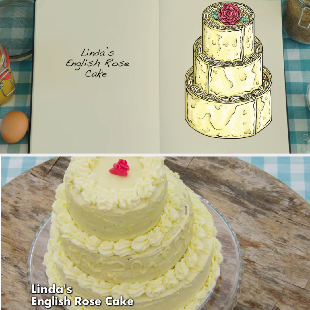 Linda's cake side-by-side with its drawing