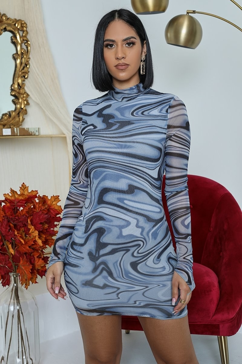 The blue marble-print dress