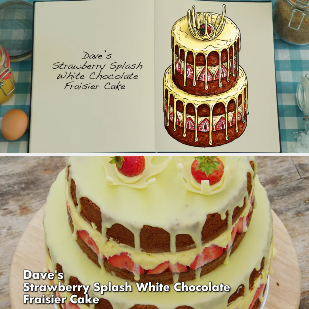 Dave's cake side-by-side with its drawing
