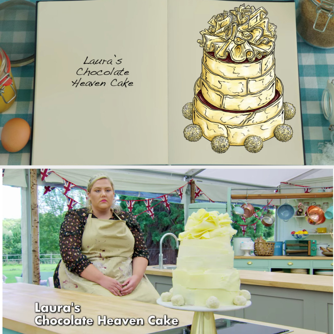 Laura's cake side-by-side with its drawing