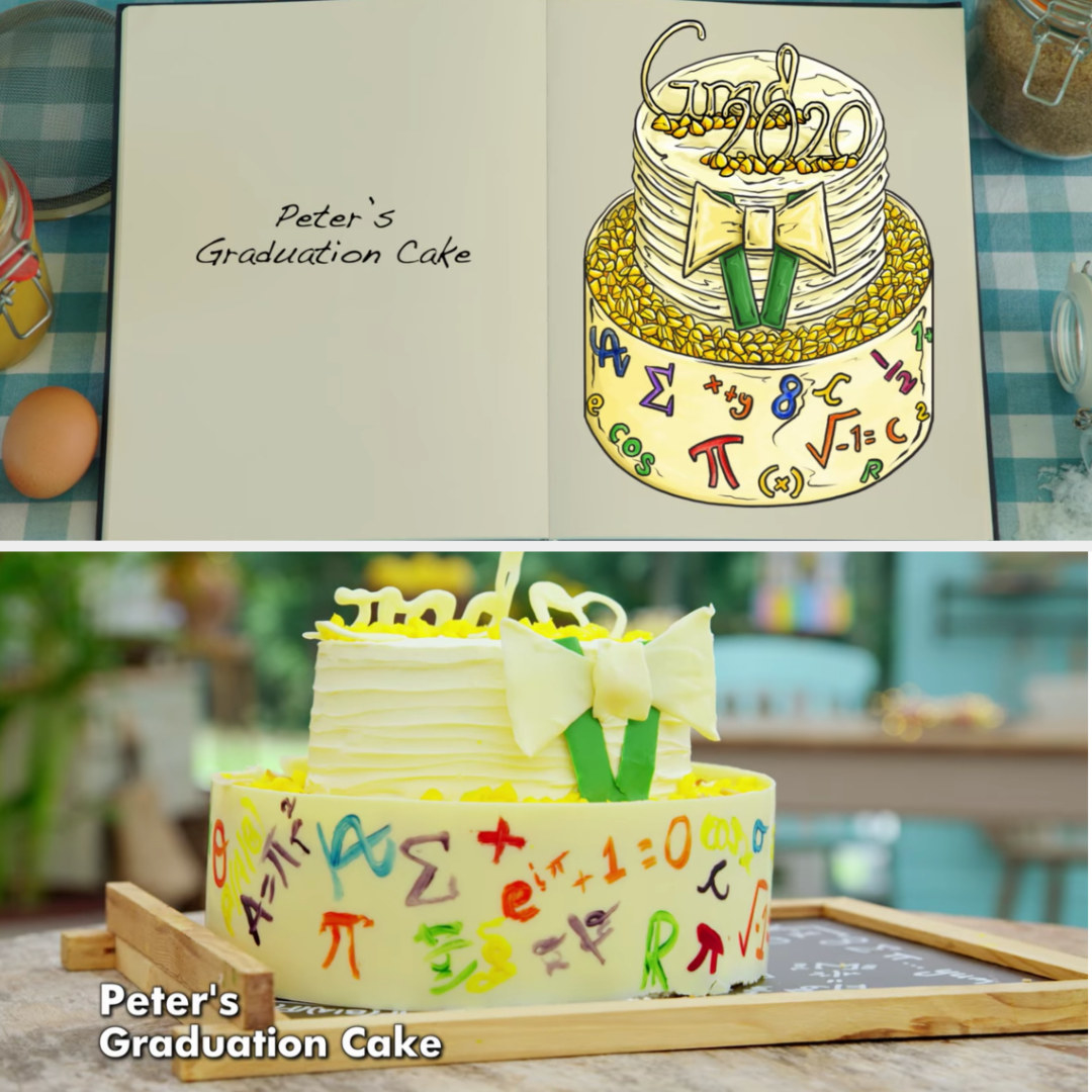 Peter's cake side-by-side with its drawing