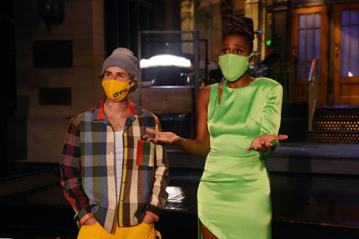 Musical guest Justin Bieber and host Issa Rae during Promos in studio 8H on Thursday, October 15, 2020.