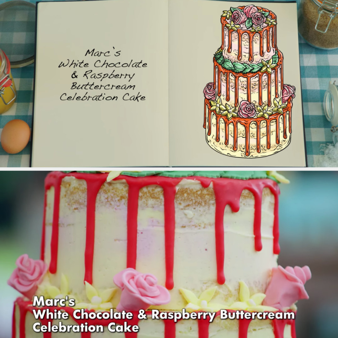 Marc's cake side-by-side with its drawing