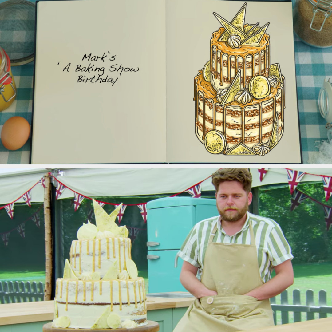 Mark's cake side-by-side with its drawing