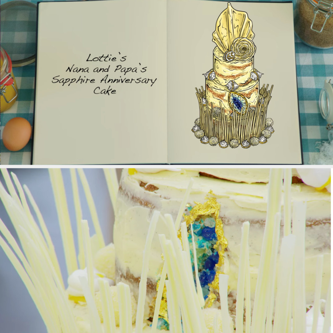 Lottie's cake side-by-side with its drawing