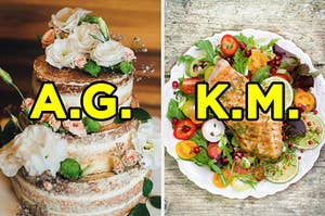 """On the left, a naked wedding cake topped with flowers labeled """"A.G.,"""" and on the right, a plate with salad and grilled chicken labeled """"K.M."""""""