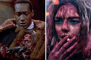 "Tony Todd in ""Candyman"" side-by-side with Samara Weaving in ""Ready or Not"""