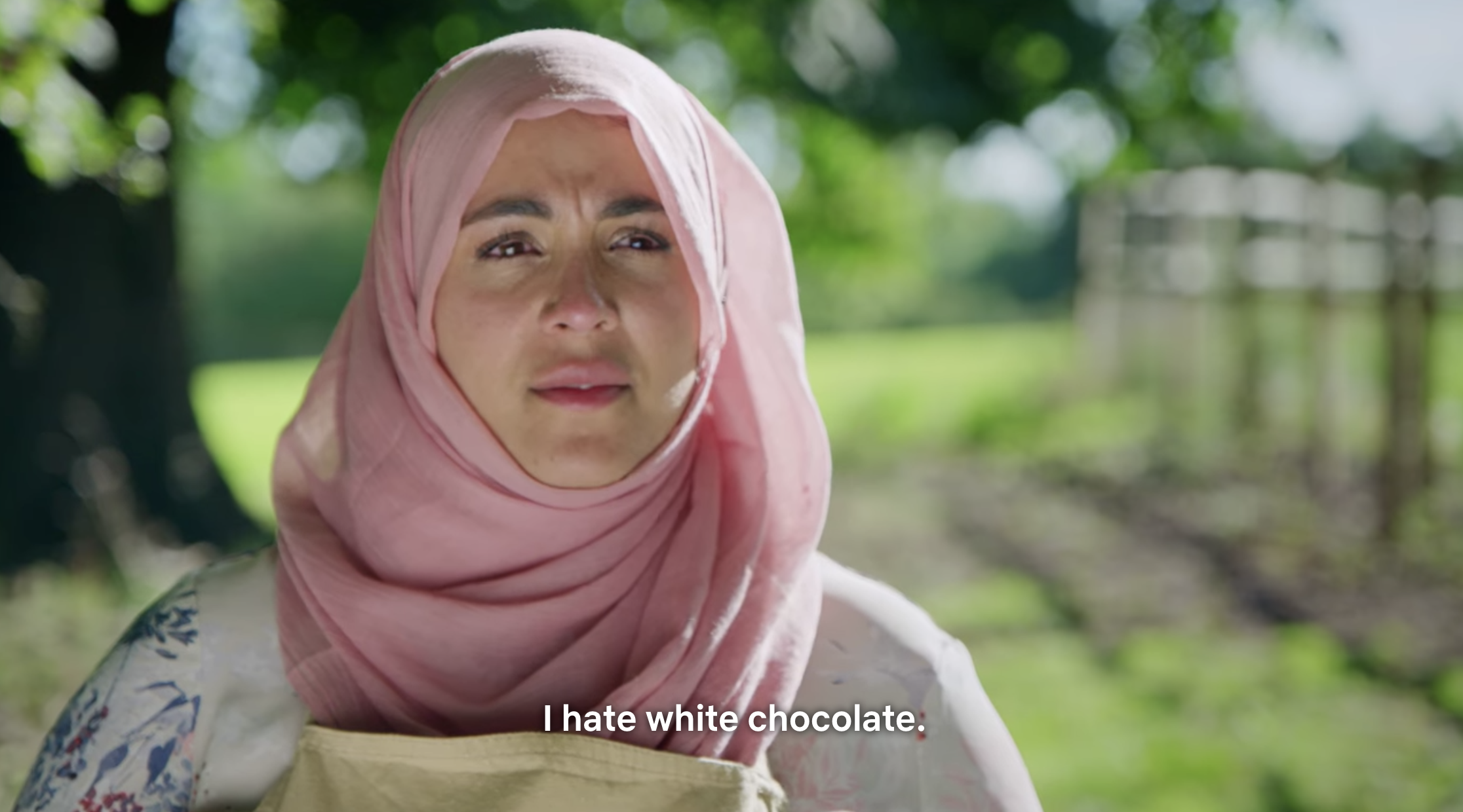 "Sura saying ""I hate white chocolate"""