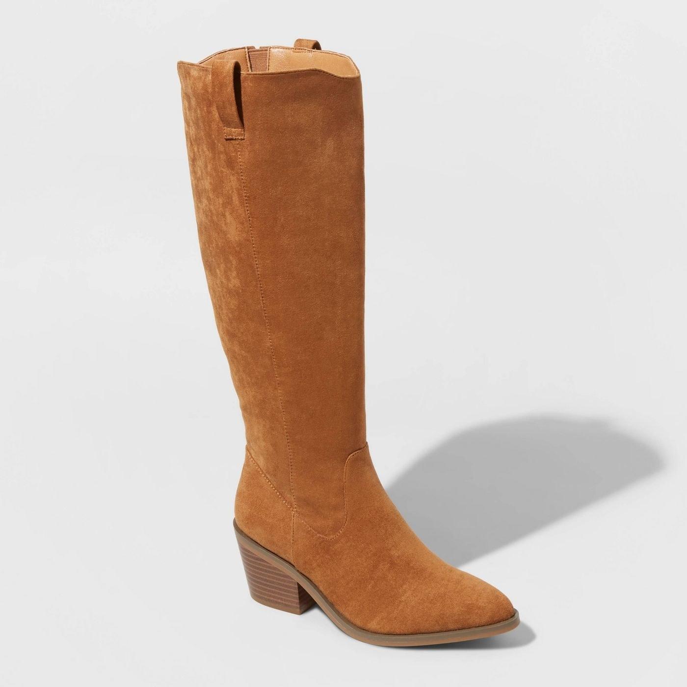 tall brown microsuede western booties