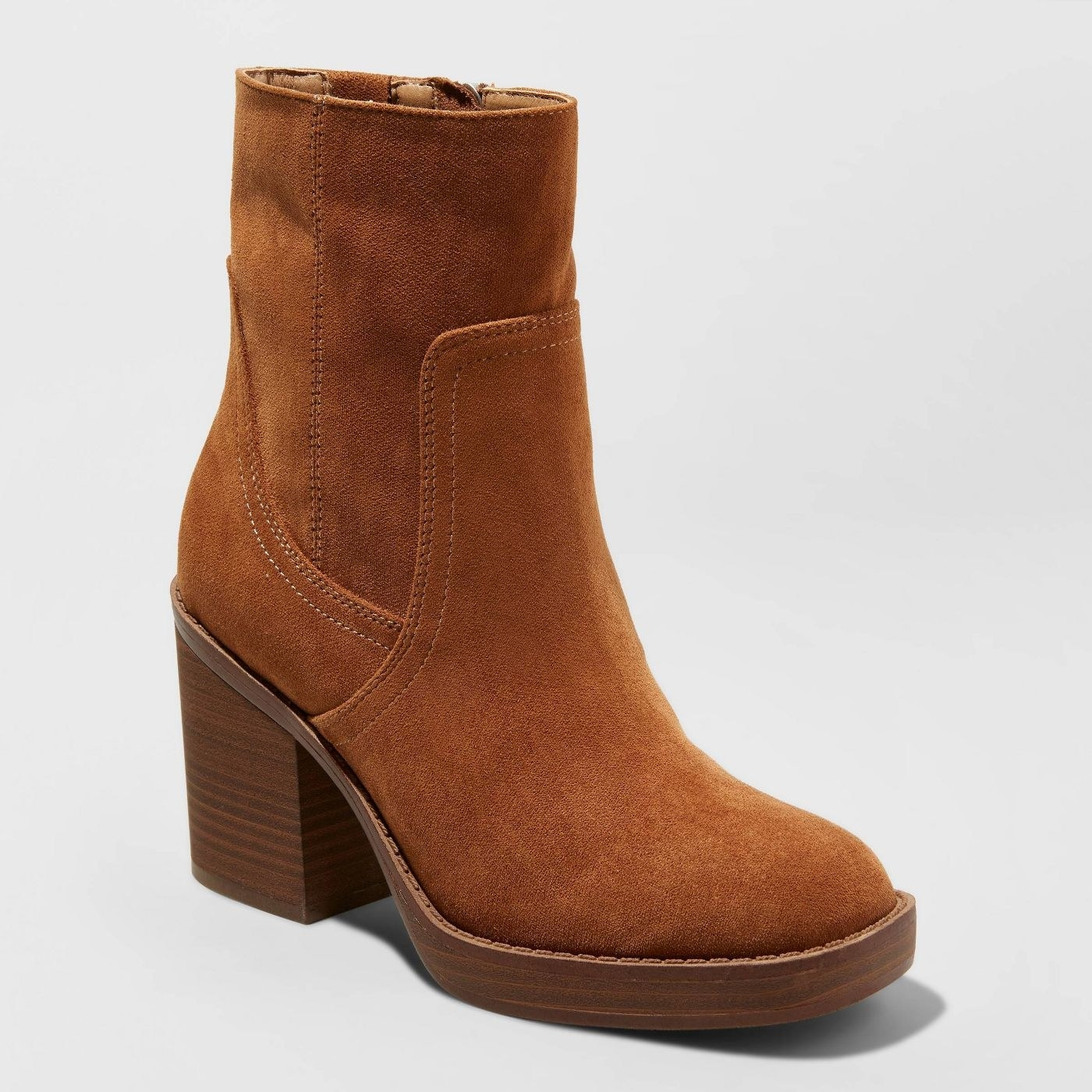 tan platform booties with a square toe