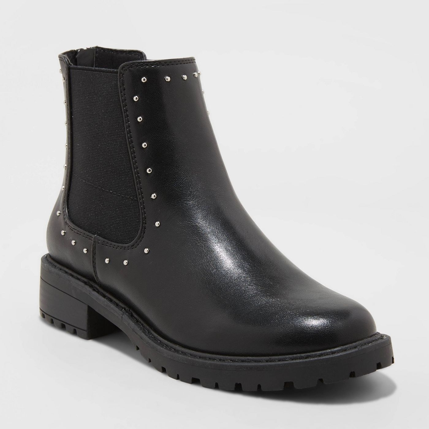 black chelsea boots with studs