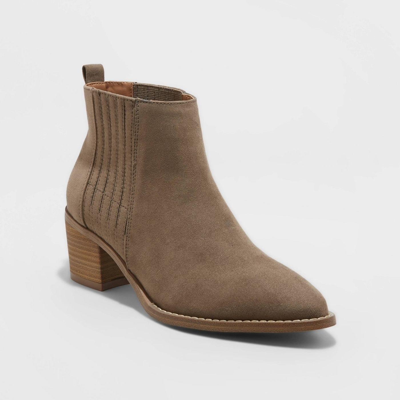Tan pointed toe block heeled booties