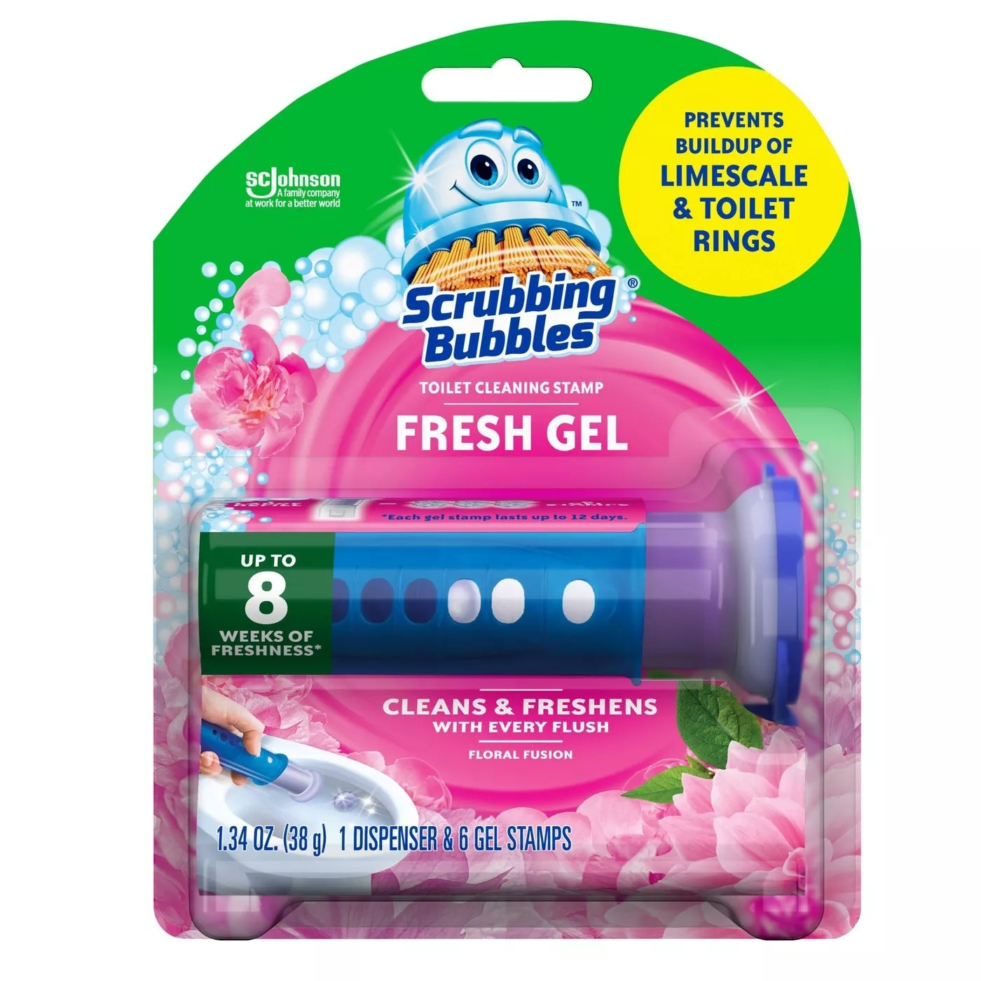 A dispenser of six Scrubbing Bubbles toilet-cleaning gel stamps that clean with every flush, deliver up to eight weeks of freshness, and prevents the buildup of limescale and toilet rings