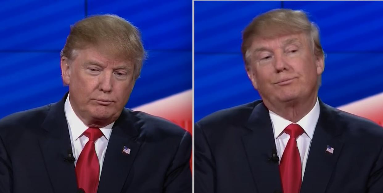 特朗普在辩论中做鬼脸