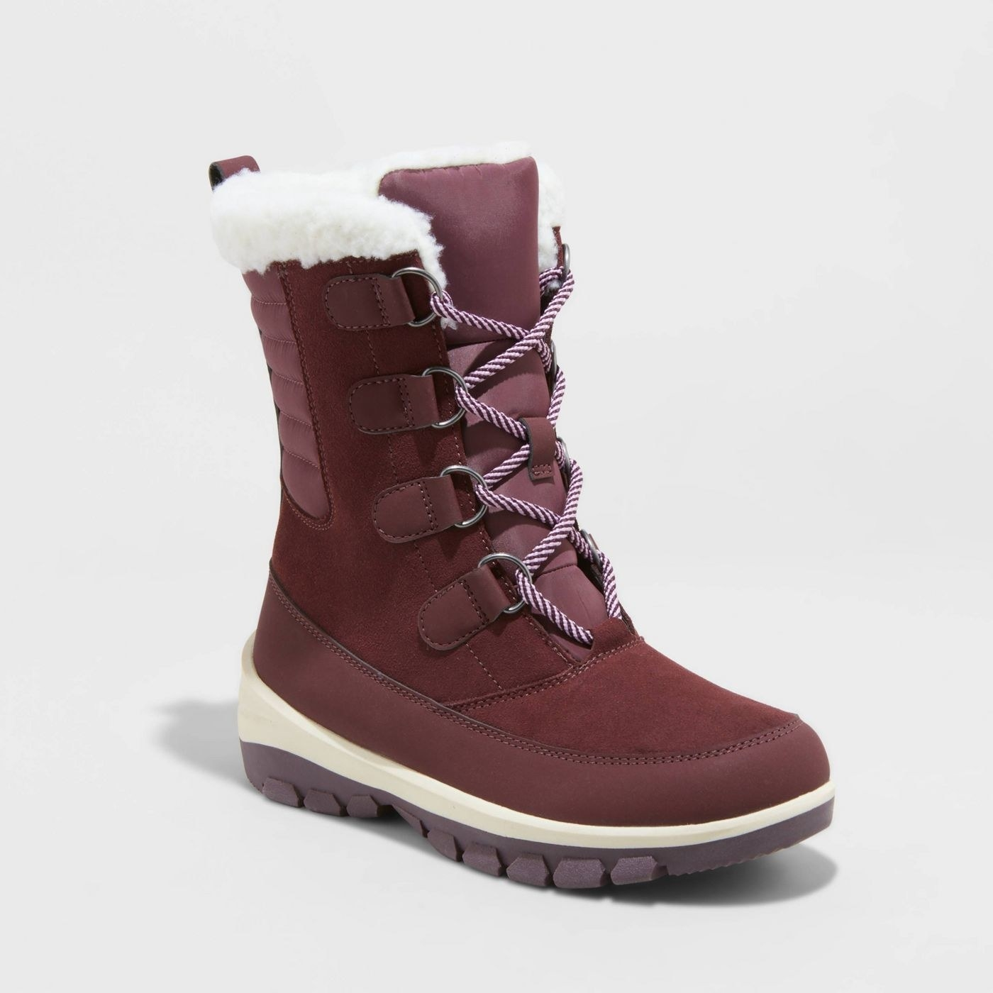 burgundy lace up snowboots
