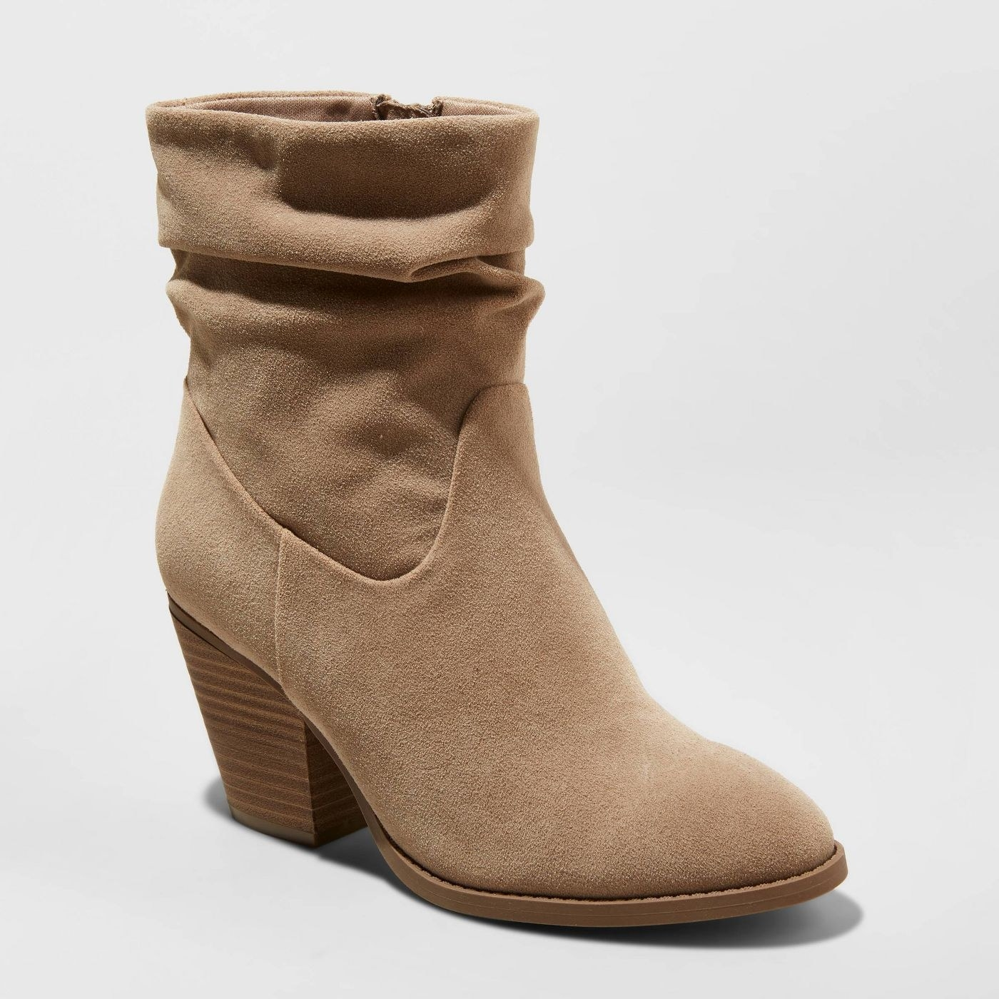 tan slouched heeled booties