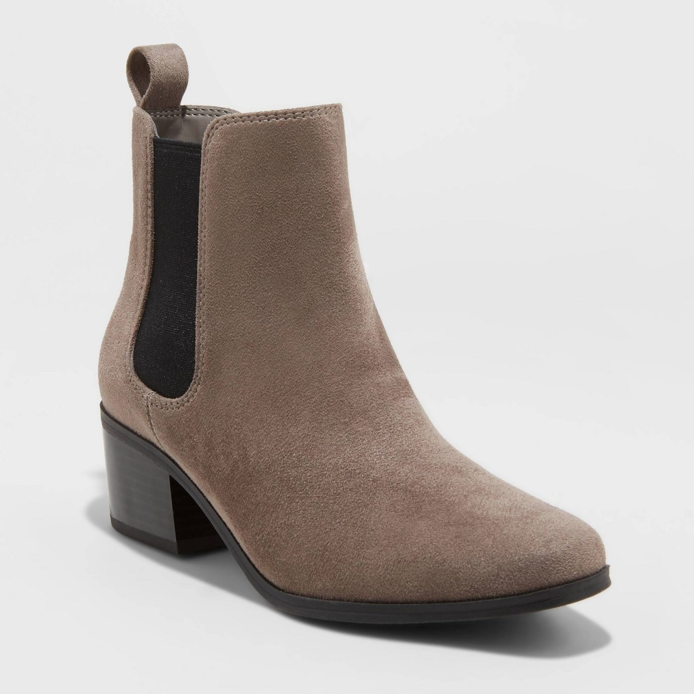 gray chelsea boots with black stretch on the side