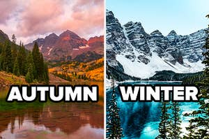 Images of a lake and mountains in winter and autumn