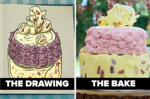 Hermine's cake side-by-side with its drawing