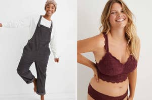 (left) Corduroy overalls in grey (right) Red lace bralette