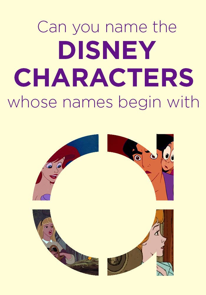 Can you name the Disney characters whose names begin with A?