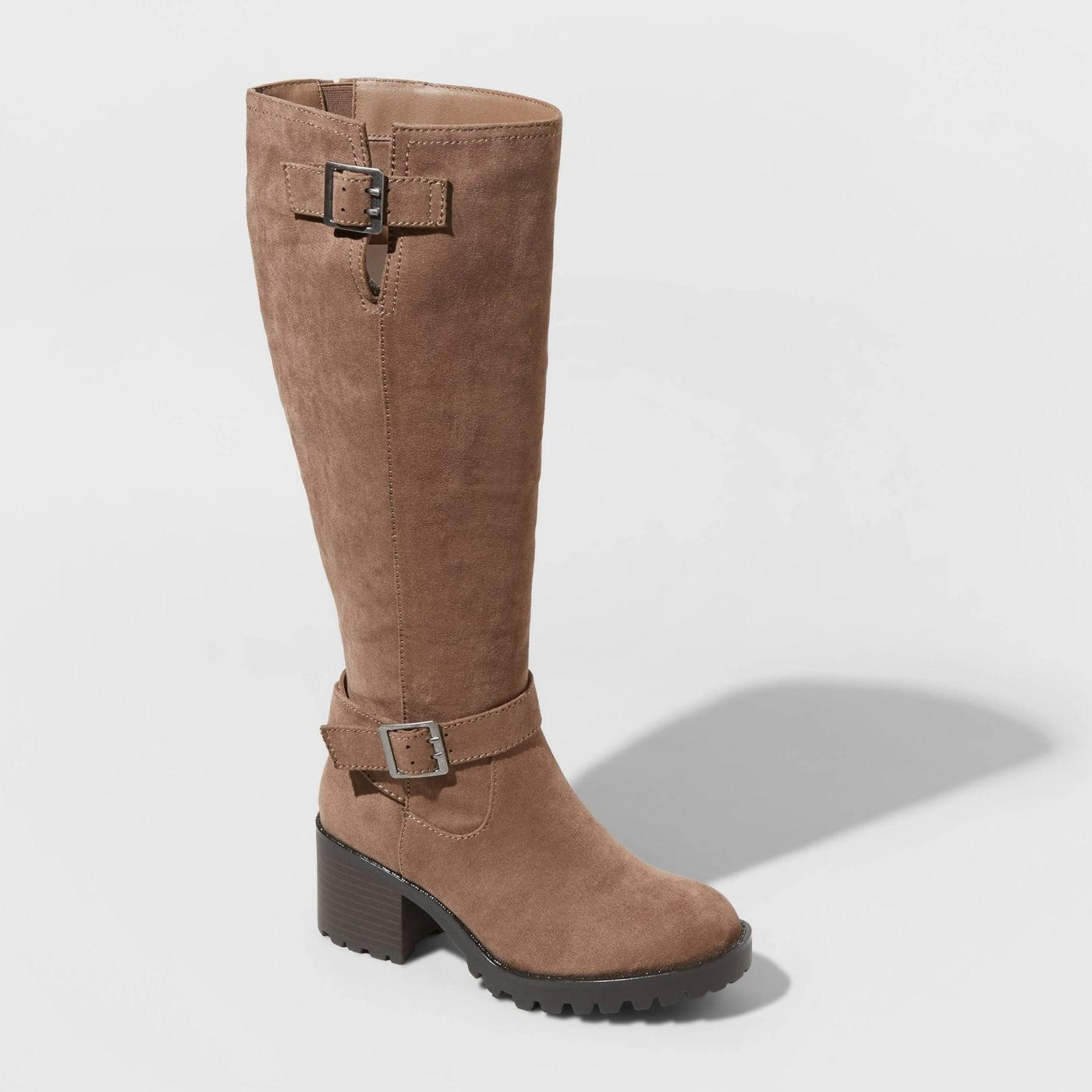 Brown knee high boots with buckles