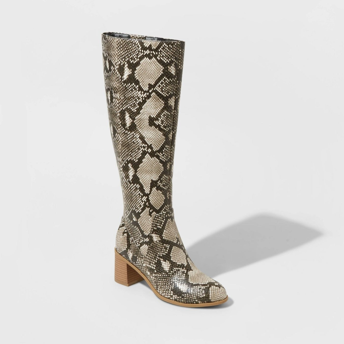 Snakeskin knee high heeled boots