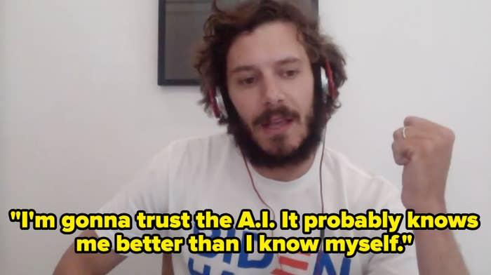 Adam Brody taking a BuzzFeed quiz.