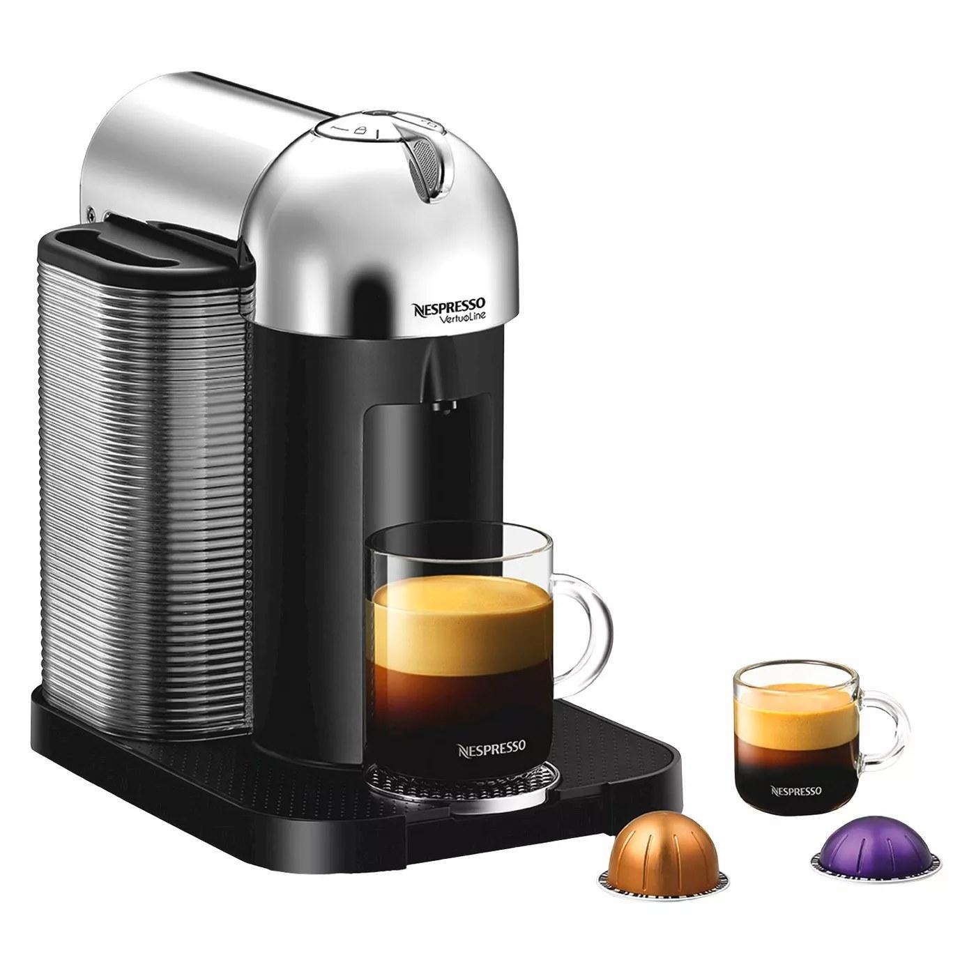 The Nespresso machine making a caffeinated beverage
