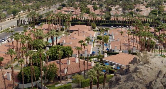 An overhead view of the property's 41 acres and multiple casitas