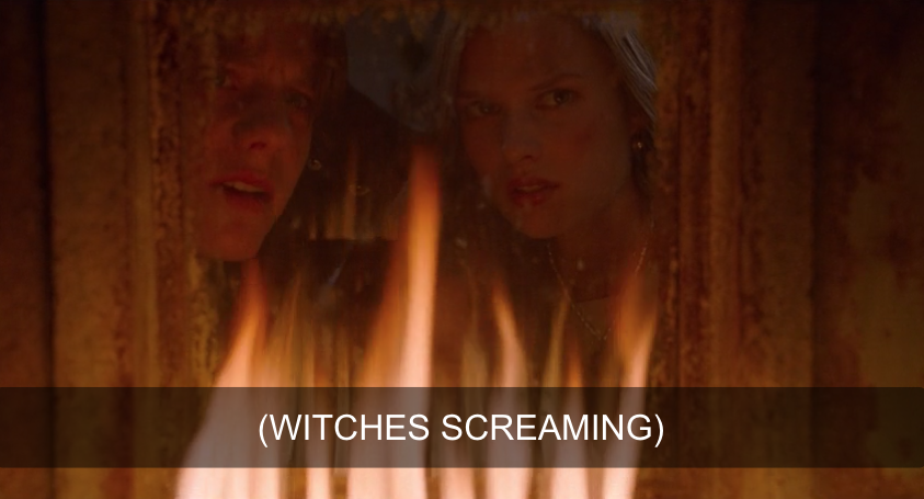 Allison and Max watching the witches burn.