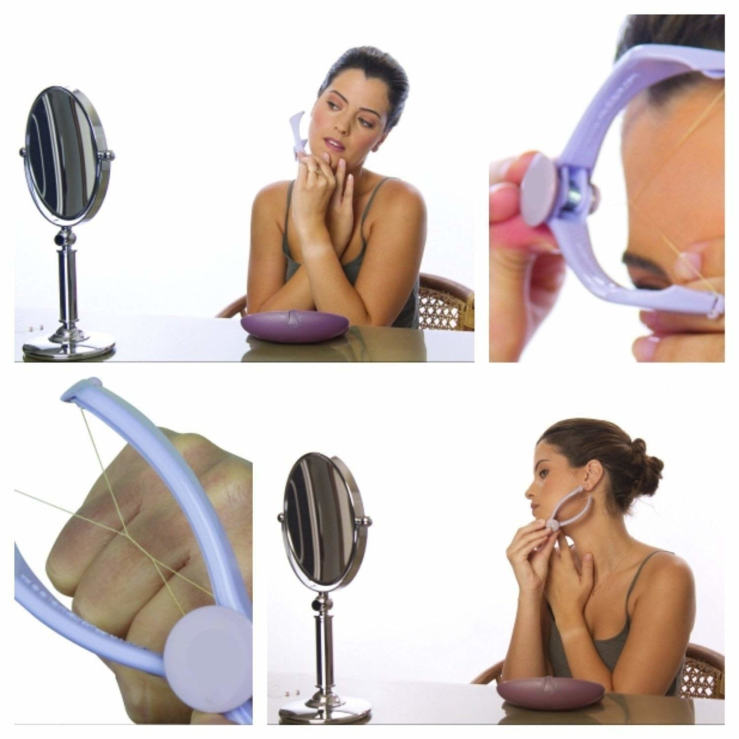 woman threading face with product