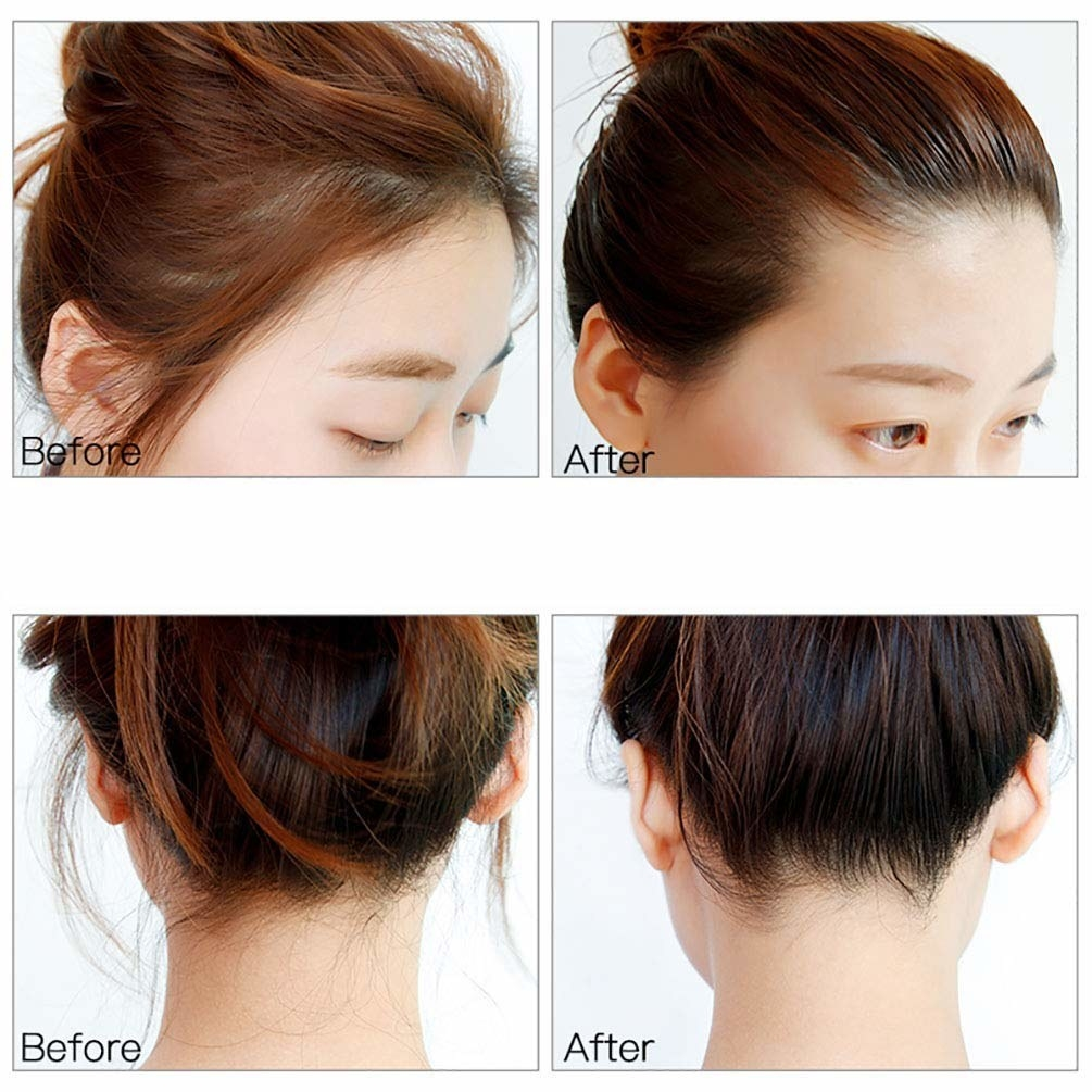 Two sets of before after images (front and back) with flyaways in place