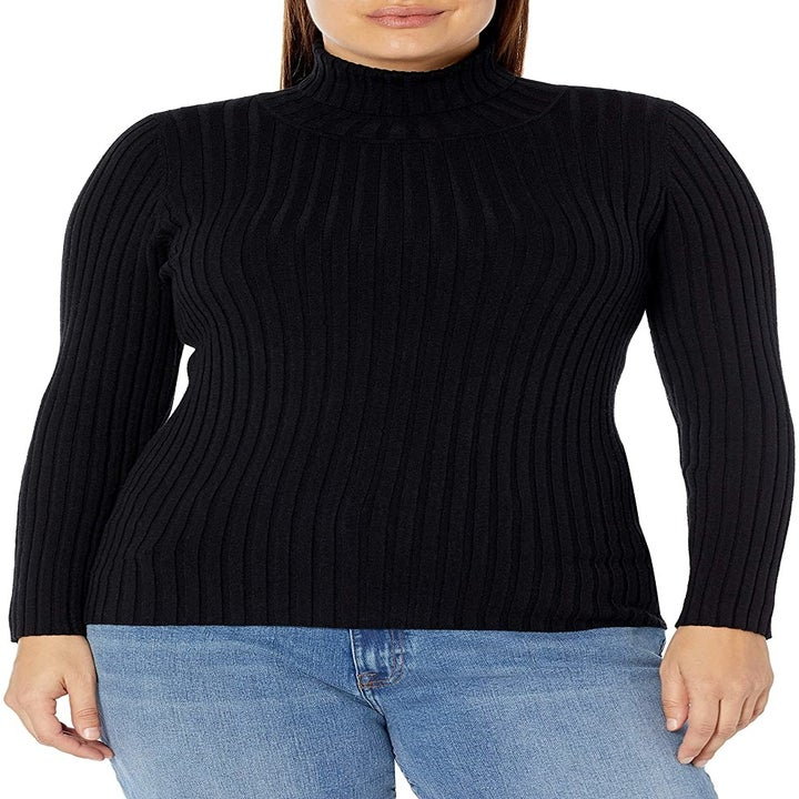 model wearing the black turtleneck